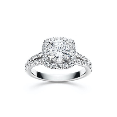 """Lia"" Round Diamond Split Shank Halo Engagement Ring"