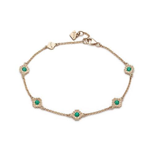 Emerald Five Motif Bracelet in Yellow Gold