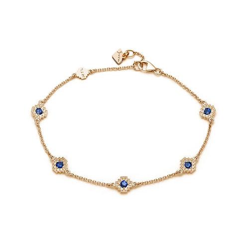 Blue Sapphire Five Motif Bracelet in Yellow Gold