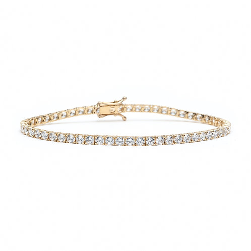 Round Diamond Overlapping Prong Tennis Bracelet in Yellow Gold