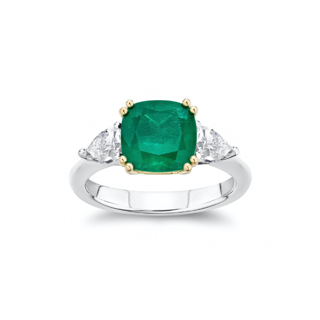 Alina Emerald and Diamond Three-Stone En