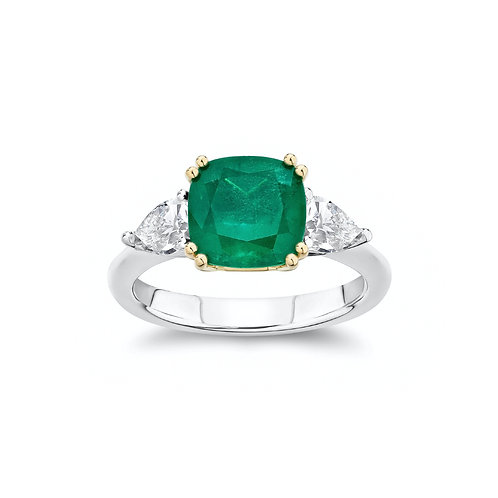 """Alina"" Emerald and Diamond Three-Stone Engagement Ring"