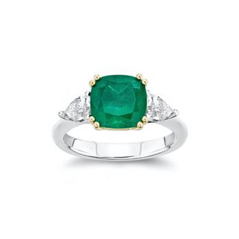 Alina Emerald and Diamond Three-Stone En