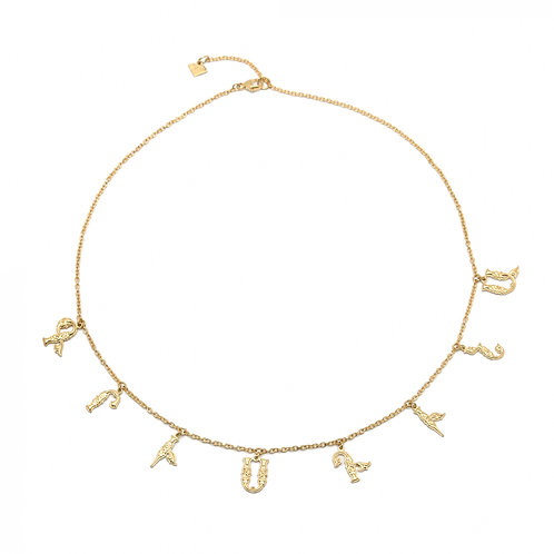 Armenian Eight Letters Necklace in Yellow Gold