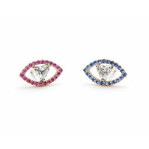Diamond, Ruby and Sapphire Eye Earrings in Rose Gold