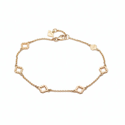 Five Motif Bracelet in Yellow Gold
