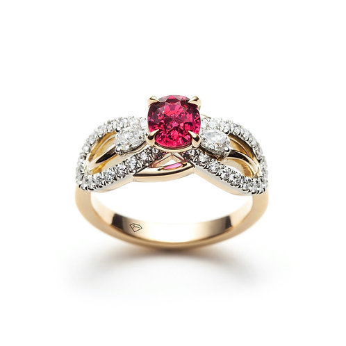"""Ana"" Ruby and Diamond Infinity Engagement Ring in Yellow Gold"