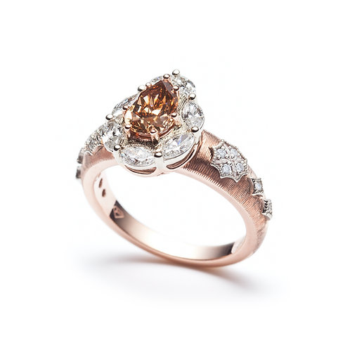 """Christina"" Chocolate Pear-Shaped Diamond Halo Engagement Ring"
