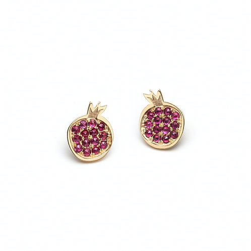 """Pomegranate"" Ruby Stud Earrings in Yellow Gold"