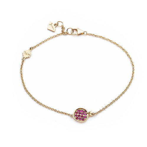 """Pomegranate"" Mini Ruby Motif Chain Bracelet in Yellow Gold"