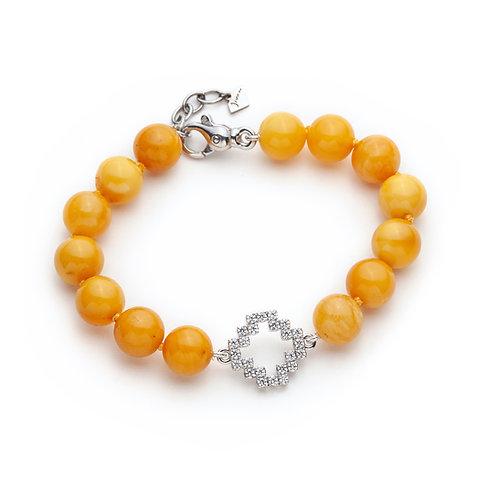 Diamond Pavé Reversible Gold Motif Amber Beaded Bracelet