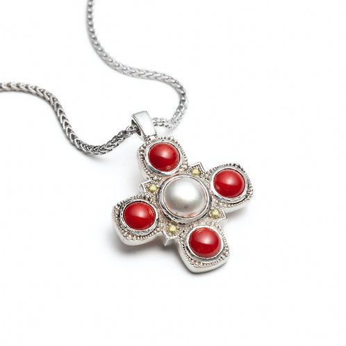 Pearl, Coral and Sapphire Medallion Necklace with 14k Yellow Gold Back Gallery in Sterling Silver