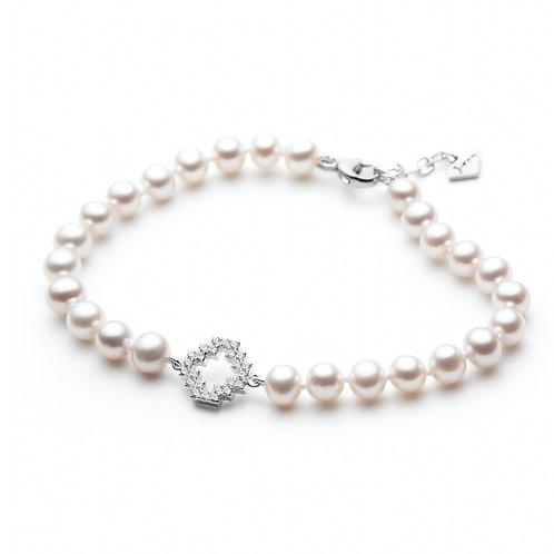 Diamond Pavé Motif White Pearl Bracelet