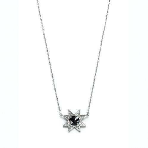 """Asteri"" Black Onyx Necklace in White Gold"