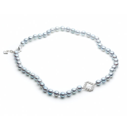 Diamond Pavé Motif Japanese Silver Pearl Necklace