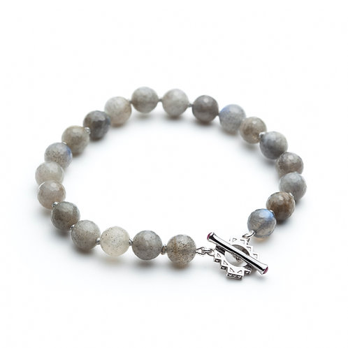 Ruby and Labradorite Motif T-Clasp Bracelet in Sterling Silver