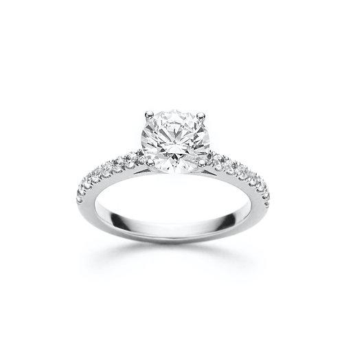Tasha Round Diamond Solitaire Engagement Ring in White Gold