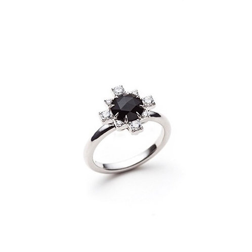 Black Onyx and White Sapphire Ring in Sterling Silver