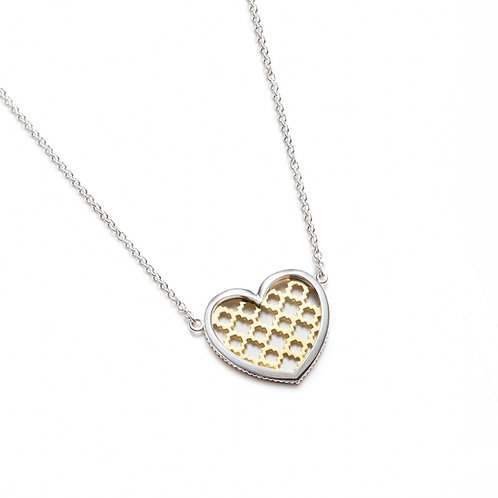 Heart Motif Two-Tone Necklace in White and Yellow Gold