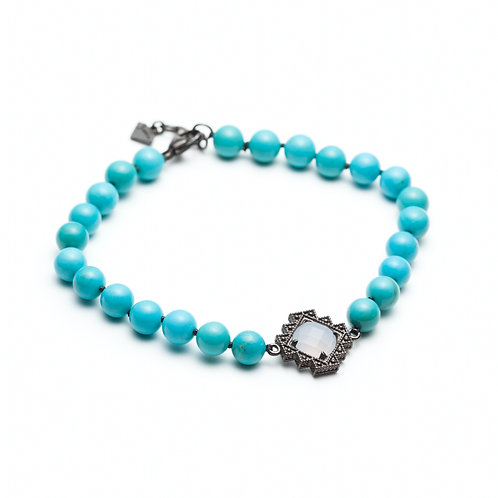 Chalcedony and Turquoise Motif Beaded Bracelet In Sterling Silver