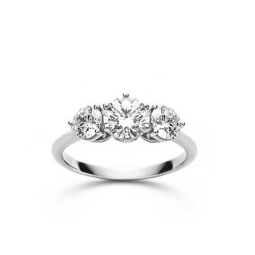 """""""Sara"""" Round Diamond Three-Stone Engagement Ring"""