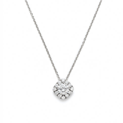 Round Diamond Halo Necklace in White Gold