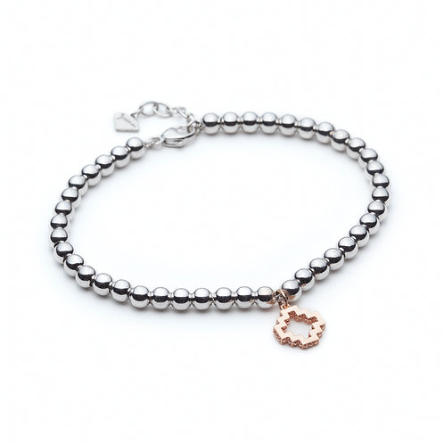 Rose Gold Signature Motif Charm Bracelet in Sterling Silver