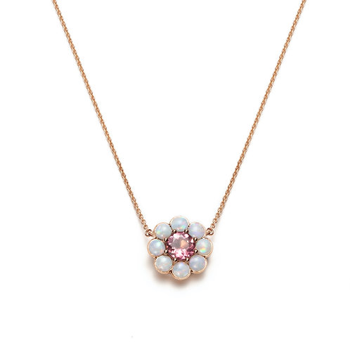 Pink Tourmaline and Opal Halo Necklace in Rose Gold