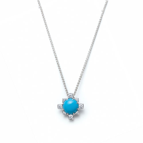 Turquoise and White Sapphire Pendant in Sterling Silver