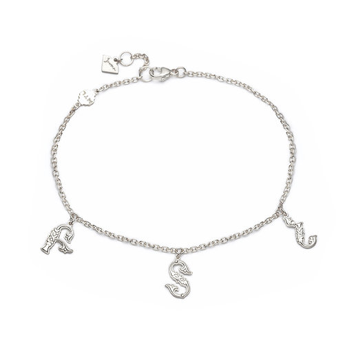Armenian Three Letters Bracelet in Sterling Silver