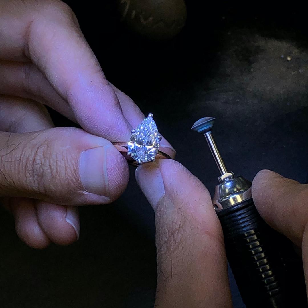 Custom Design Engagement Ring Polishing
