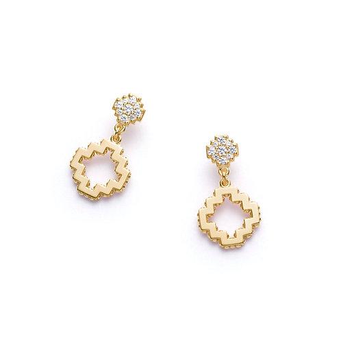 Diamond Pavé Motif Drop Earrings in Yellow Gold