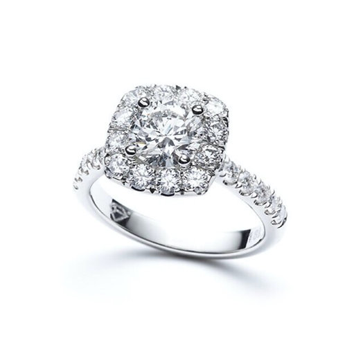 """Meghry"" Round Diamond Square Halo Engagement Ring"