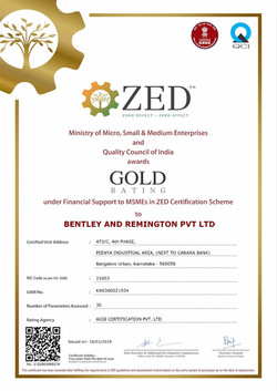 ZED Gold Rating by Ministry of MSME