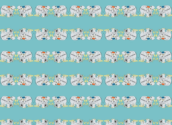 Elephant playing Brass Wrapping Paper