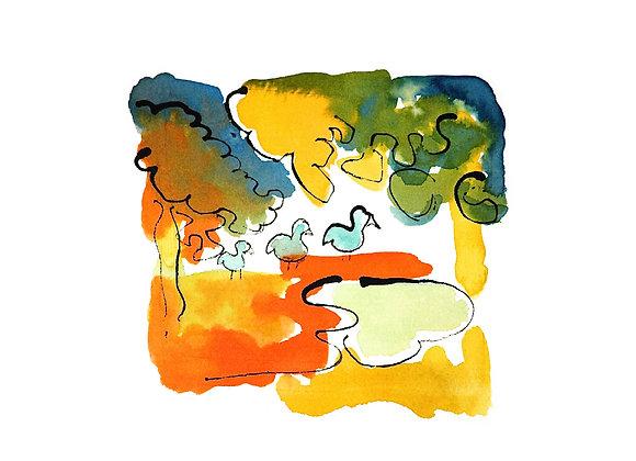 Three Ducks (in colour) Giclee Print Ltd Ed / 50