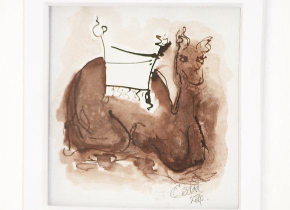 Camel in Sepia 2016 Original Drawing