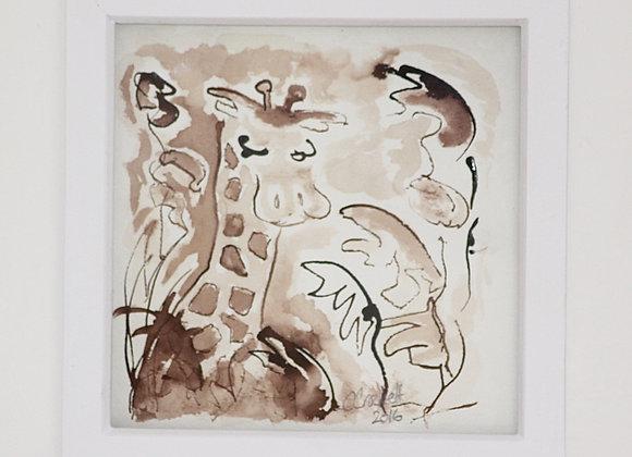 Giraffe amongst leaves in sepia 2016 Original Drawing