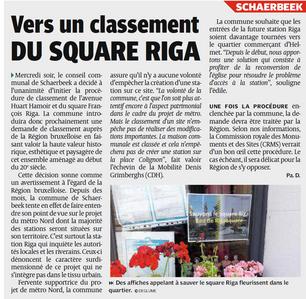Classement du square Riga et de l'avenue Huart-Hamoir