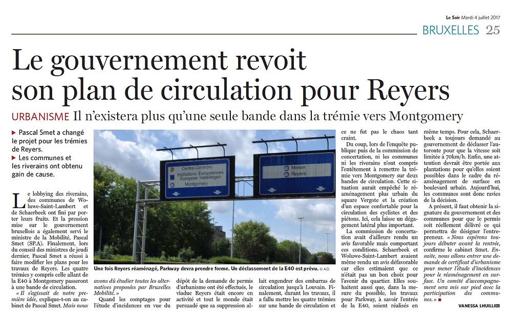 Le plan de circulation Reyers revu