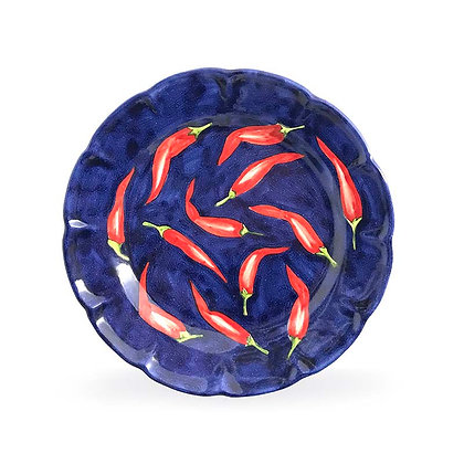 Piatto blu con peperoncini