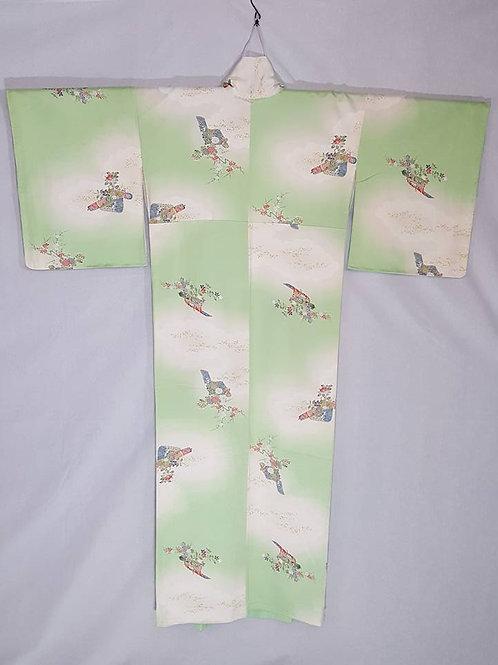 Green & White Japanese Kimono