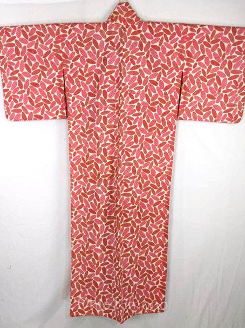 Bold Red & Off White Japanese Kimono