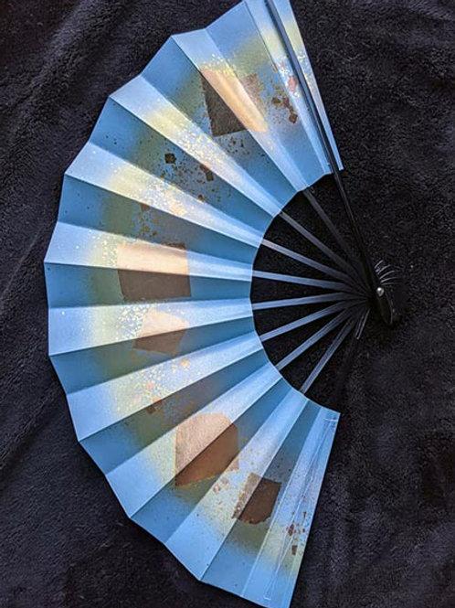 sky blue japanese fan