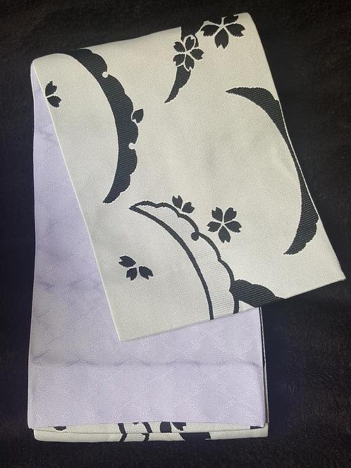 Off White & Pale Purple Hanhaba Obi