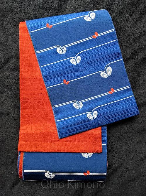 Azure Blue & Orange Hanhaba Obi