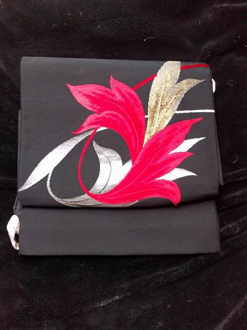 Black Tsuke Obi For Japanese Kimono