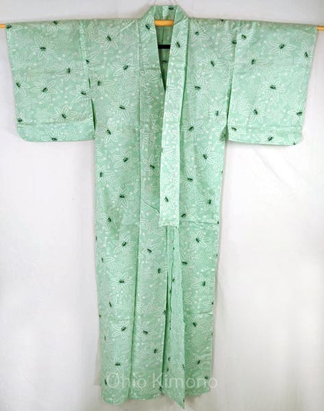 yukata mint colored with shooting stars and eyes