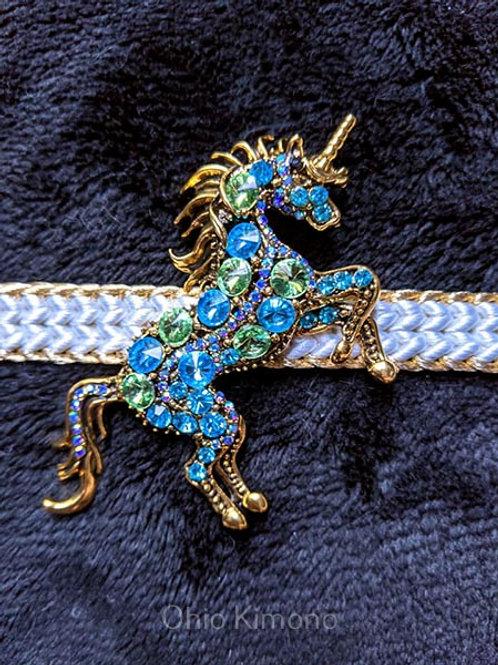 gold unicorn obidome for kimono