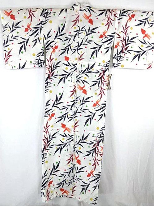white yukata kimono with goldfish